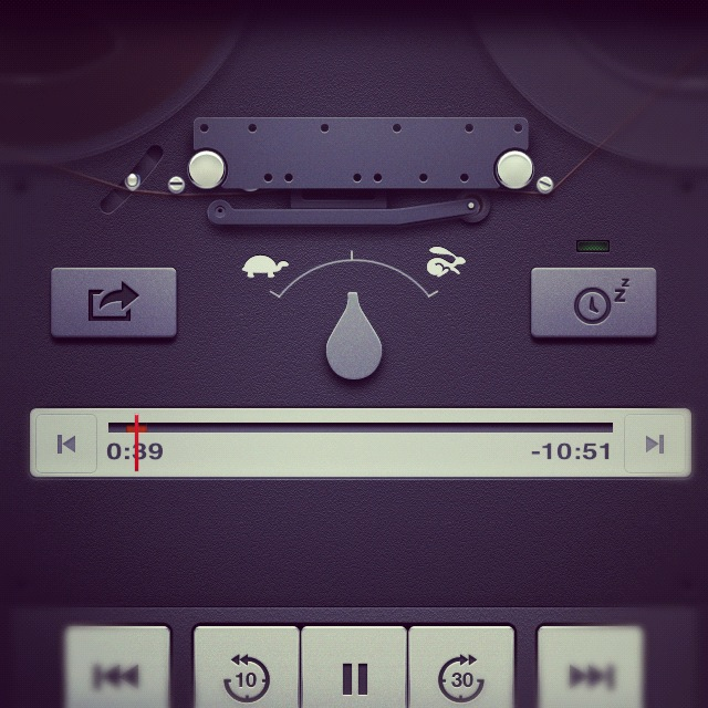 Apple iOS Podcast app featuring skeumorphic design.